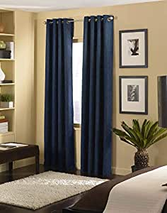 """Curtainworks Cameron Grommet Curtain Panel, 50 by 84"""", Navy"""