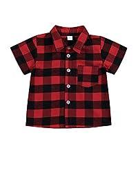 幼儿男童女童服装绅士服装红色格子法兰绒正式衬衫带纽扣儿童服装 1-6T 红色短裤 5-6T