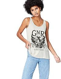 FIND 女式背心,带枪支玫瑰图案徽标和圆领