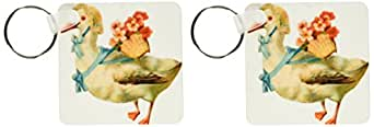 3dRose 复古维多利亚式白鹅穿戴帽带和花篮 - 钥匙链,6.35 x 11.43 厘米,两件套 (kc_104697_1)