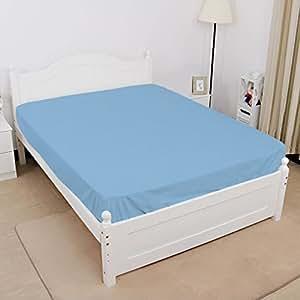 棉质床笠,400 TC,袋深 38.1 厘米,颜色 浅蓝色纯色 Short Queen GOS-FTD-PA-750