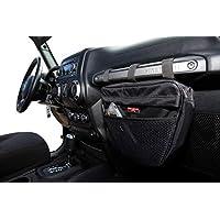 Badass Moto Gear Jeep Wrangler 储物袋。 防水内饰配件收纳包提手手机、太阳镜、工具。 EZ Access 网状口袋。 安装在乘客抓握把手。 适用于 JK TJ YJ CJ JL