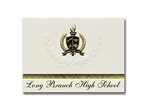 标志性公告 长分高中(长处,新泽西州)毕业公告,总统风格,25 精英包装 金色和黑色金属箔封装