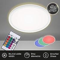 Briloner Leuchten - LED 面板,顶灯可调光,顶灯,RGB,颜色控制,背光,包含遥控器,15瓦,1.850流明,4.000开尔文,白色,直径29.3厘米
