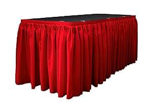 "LA Linen 53.34 米 x 73.66 厘米涤纶府绸褶皱桌裙带 10 个大夹子 红色 21' x 29"" SKT21x29pop+15Lclps_RedP98"