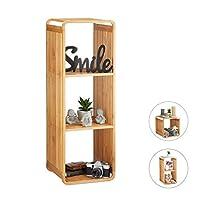 Relaxdays 竹架,圆形立式架子,窄型浴室架,带架子,方形,不同尺寸,自然 自然 4 Ablagen 10024216_349