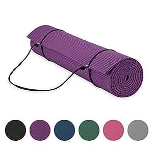 Gaiam Essentials 高级瑜伽垫带瑜伽垫背带吊带(72 英寸长 x 24 英寸宽 x 6 毫米厚) 紫色 6mm