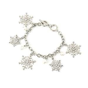 ELEARD 圣诞手链雪花计人珠饰可调节手镯手链 xmas bracelet snowflake