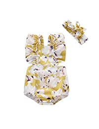 婴儿新生儿夏季服装女婴紧身衣荷叶边花卉无袖连衫裤