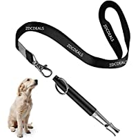 ZDCDEALS 狗哨,止吠的狗哨,可调节音高超声波*不锈钢狗训练哨 - 狗哨带免费挂绳
