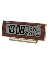 セイコークロック 置き時計 薄金色パール・一部木目 8.3×20.6×5.0cm 目覚まし時計 卓上時計 テーブルクロック 常時点灯 SQ788B