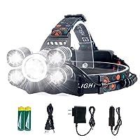 前灯可充电 LED 大灯,4 种模式,LED 防水工作前灯,*亮 10000 流明手电筒,USB/插头/车载充电器充电(全部包含),适用于露营、跑步、远足、钓鱼