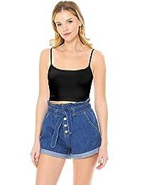 Wax Jeans 女士高腰纸袋牛仔短裤 + 免费吊带背心