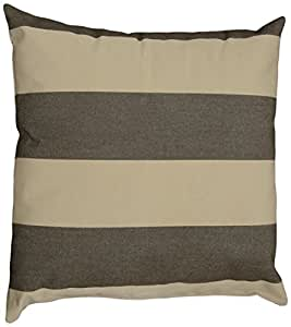 Mansion Striped Outdoor Pillow Brown and Tan 16 英寸