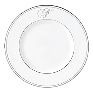 Lenox Federal Platinum Script Monogram 餐具装饰盘,F