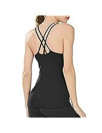 内置文胸瑜伽背心女式细肩带吊带背心锻炼无袖上衣