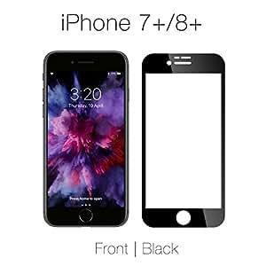 iPhone 7+/8+ dity 屏幕保护膜 全新聚碳酸酯技术 无玻璃 - 光面、触感凉爽、感觉就像玻璃一样 - 易破裂、剥落或裂开即完全覆盖 Black Front