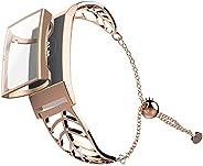 UMTELE 表带兼容 Fitbit Charge 3 叶形不锈钢表链女士替换表带带全盖屏幕保护膜适用于 Fitbit Charge 3 & Charge