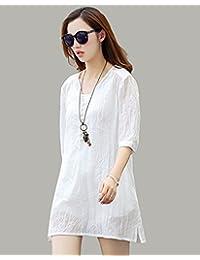 连衣裙二件套棉麻衬衫女中长款韩版宽松大码文艺亚麻料女装中袖A字裙L-K001