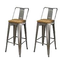 GIA 中靠背 30 英寸(约 76.2 厘米)高金属凳,2 件装,青铜色/轻质木座