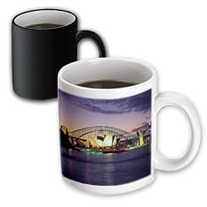 3drose toryanne 收藏知名地标–SYDNEY ,澳大利亚紫色和粉红色日落–马克杯 黑色/白色 11-oz Magic Transforming Mug