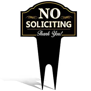 NO soliciting 标志适用于家庭 YARD / HOUSE lawn 也非常适合 businesses | 时尚激光切割 | 制造耐用 dibond 铝制 . STOP solicitation , deter 门 knockers 和 BELL ringers 黑色 15.5Hx9.5W