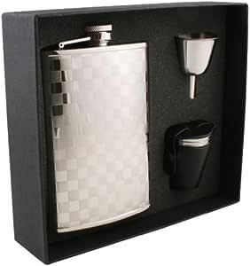 """Visol """"Mate"""" Checker Design Stainless Steel Flask Gift Set, 8-Ounce, Chrome"""