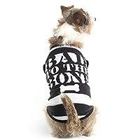 Bad to The Bone Convict 小狗万圣节服装 - 趣味宠物 T 恤服装 黑色 小号