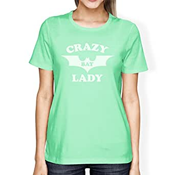 365 Printing Crazy Bat Lady T-Shirt Womens Mint Graphic Tshirt For Halloween