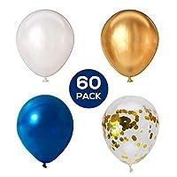 Russ Valley 五彩纸屑气球,金属金色,蓝色和白色,适合生日派对 - 60 个装,12 英寸