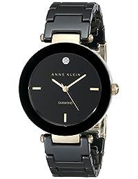 ANNE KLEIN 女式黑色圓形陶瓷鉆石手表