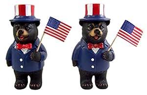 爱国黑熊保持美国国旗 12.70 cm 蓝色 Pk of 2