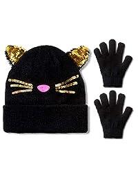 女孩猫耳朵冬季帽子无檐小便帽和科技触摸手套套装适合 3 至 7 岁儿童