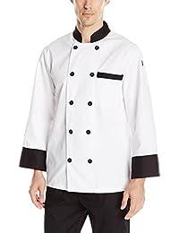 Chef Code 男士经典 10 黑色纽扣长袖厨师大衣