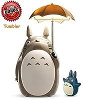 Totoro 雨傘 LED 夜燈兒童角色燈 USB 充電(白鈴)贈送龍貓玻璃杯