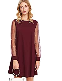 DIDK Women's Velvet Tunic Dress With Embroidered Floral Mesh Bishop Sleeve