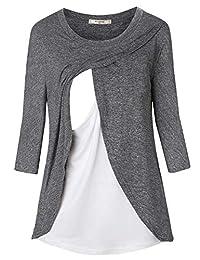 女式 3/4 袖孕妇束腰外衣分层哺乳上衣