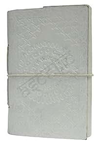 M&N Mandana 压花白色皮革日记笔记本旅行空白页适合他或她 14.00 Cm X 9.00 Cm 白色