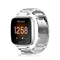 Fintie 金屬表帶 Fitbit Versa 2、Versa Lite 版,實心不銹鋼表帶替換腕帶商務手鐲適用于 Fitbit Versa 智能手表