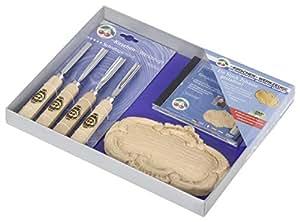 """Kirschen 3435000"""" 车门板雕刻工具套装 带 DVD,米色/银色,6 件套"""