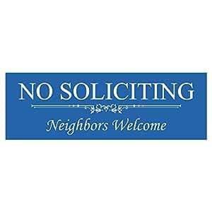 "Basic No Soliciting Neighbors 欢迎标志 2-1/2"" x 7"" - Medium 蓝色"