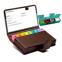 药盒,7 天药盒,每周大号旅行药盒,每天4次药盒,维生素鱼油夹,配有 BN PU 皮套,保护手机免受轻量放入钱包 大