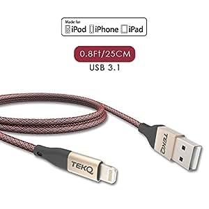 [ 苹果 MFI 认证 ] tekq iphone 闪电 cable-exteremly 耐用带钓鱼 nylon-stain & 弯腰 prevention-high SPEED 2.4A 快速充电和14510% 数据传输 0.8Ft/25cm