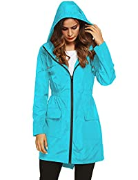 LOMON 女式防水雨衣连帽轻型风衣户外防雨夹克冰蓝色 L 码