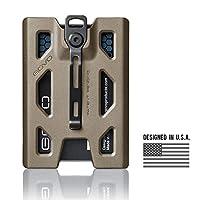 GOVO 徽章夹/钱包 - 耐用身份证卡夹,带金属夹和 4 个卡槽(可容纳 1-4 张卡) 棕褐色