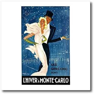 BLN 复古旅行海报–vintage lhiver A monte-carlo LES gens 别致旅行海报–熨烫热转印