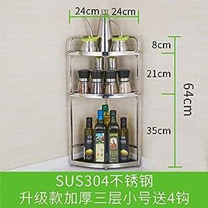 不锈钢厨房转角置物架壁挂调味调料架子三角形厨具用品收纳省空间升级三层小号304材质