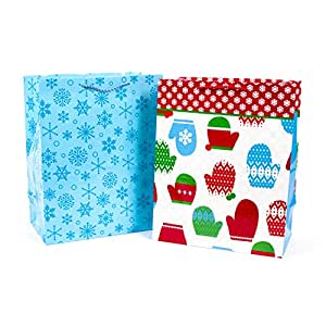 Hallmark 5XGB1813 Mitten Holiday Large Gift Bags (2 Pack), Multicolor
