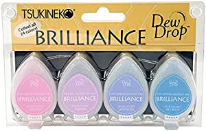 Tsukineko 4-Pack Brilliance Dew Drop Inkpads, Jewel Tones