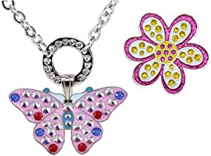 Navika Magnetic Necklace with Swarovski Crystal Pink Butterfly and Glitzy Purple Oopsy Daisy Ball Markers